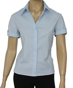 Camisa Social Feminina Lisa Manga Curta    Netroupas Moda Executiva Camiseta  Social Feminina d6cebee8cf3