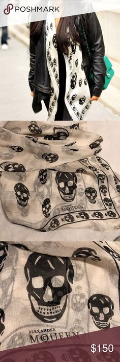 💯Original Alexander McQueen skull scarf! White with black skulls. 💀Only worn once. 🖤 small stains from time. Dry clean only. Alexander McQueen Accessories Scarves & Wraps