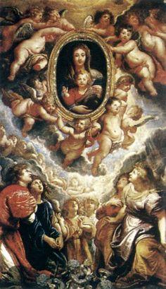 Madonna Adored by Angels (Madonna della Vallicella). Rubens. 1608. Oil on slate.  425 x 250 cm. Santa Maria in Vallicella. Rome.