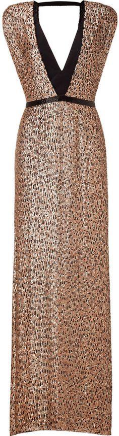 Jenny Packham Black/Blush Sequined Silk Gown $4 thestylecure.com