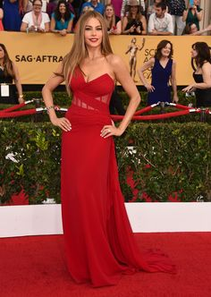 Sophia Vergara in a Donna Karan Atelier with an exposed corset and flowing train - 2015 Screen Actors Guild Awards Red Carpet