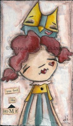 Original Folk Art  Owl and Girl Painting  on wood    You Feel LIke HOme  ©dianeduda/dudadaze