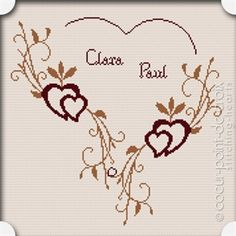 Image de Grille point de croix - Romance 123 Cross Stitch, Free Cross Stitch Charts, Cross Stitch Heart, Cross Stitch Borders, Cross Stitch Samplers, Cross Stitch Designs, Cross Stitching, Broderie Bargello, C2c Crochet Blanket