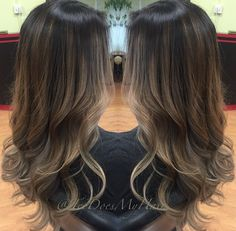 Balayage ombré ash brown