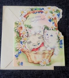 Vintage Greeting Card Get Well Basket of White Kittens Flowers 2-in1 Unsigned