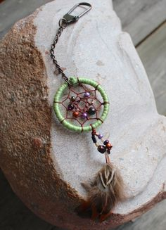 Dreamcatcher Keychain  Charm  Green  Purple  by VagaBoundPeople