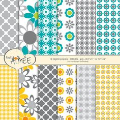 12 Digital Scrapbook Papers  Graphic Flowers & by ToutAimee $6.39