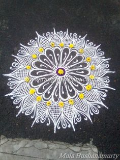 Today thoughts of klolam. Its better to look ahead and prepare than to look back and despair. Freehand white design kolam done by Mala Bushanamurty Indian Rangoli Designs, Rangoli Designs Latest, Rangoli Designs Flower, Latest Rangoli, Small Rangoli Design, Colorful Rangoli Designs, Rangoli Patterns, Rangoli Ideas, Flower Rangoli