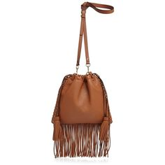 Rebecca Minkoff Moto Fringe Drawstring Crossbody ($260) ❤ liked on Polyvore featuring bags, handbags, shoulder bags, almond, brown crossbody, rebecca minkoff crossbody, fringe crossbody purse, leather purse and brown shoulder bag