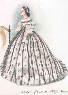 """Concept art and costume illustration by Joanna Johnston for """"Lincoln"""" (2012).  Many of the outfits worn by actress Sally Field for the production were copies of surviving outfits worn by Mrs. Lincoln which were made anew for filming."""