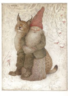 """dahliafyodorovna: """" Artwork by Lennart Helje I Painter, illustrator, born in in Lima. He paints Christmas cards with elves in snowy landscapes. Several paintings are reproduced. Illustration Inspiration, Illustration Art, Cat Illustrations, Christmas Gnome, Vintage Christmas, Christmas Cards, Happy Winter Solstice, Art Fantaisiste, Photo D Art"""