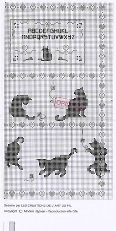 Black cat cross stitch chart