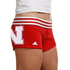 adidas Nebraska Cornhuskers Ladies Scarlet Cheeky Rollover Shorts