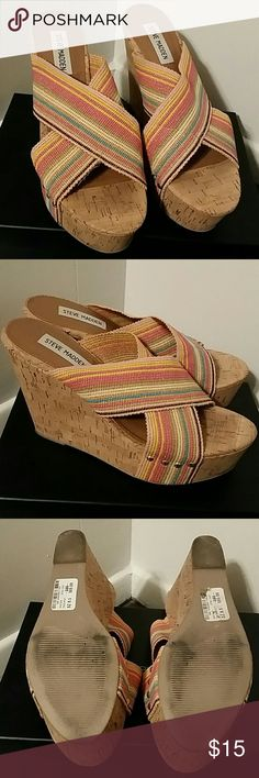 Steve Madden Cork Platform Wedge Sandal These are so comfy and so much fun!  High cork platform.  Elastic bands.  Studded side detail.  Worn once when bought and never again.  Tag still on bottom of shoe. Steve Madden Shoes Platforms