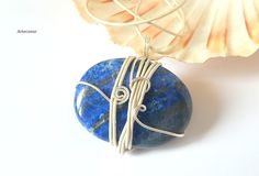 Collier pendentif Lapis Lazuli bleu roi ethnique Celte fil de cuir et cuivre…