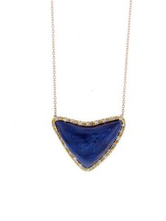 Royal Nomad - Azurite Heart Pendant with Diamonds