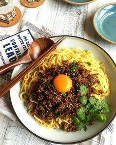台湾風混ぜそば ✳ フライパンひとつ✳ 麺✳ 簡単✳ 節約✳ by ... Cooking Recipes, Healthy Recipes, Healthy Food, Cafe Menu, Pasta Noodles, Looks Yummy, Japanese Food, Cravings, Food And Drink