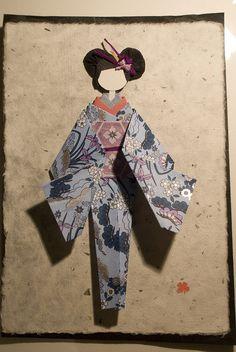 Fabric Origami, Origami Paper, Oragami, Japanese Origami, Japanese Paper, Paper Dolls, Art Dolls, Geisha, Washi