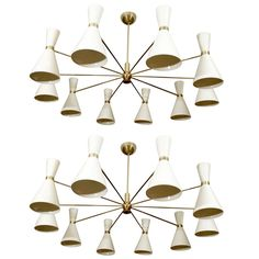 Elegant chandeliers in the style of Stilnovo with ten arms and twenty lights. Priced as a single.