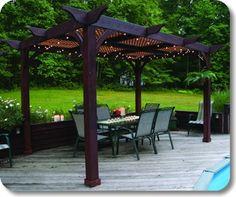 Lattice roof for filtered shade. (Wood Pergolas Westport | Backyard America | Pergolas)