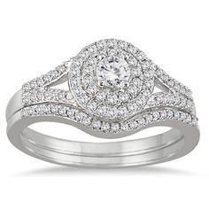 10k White Gold 1/2ct TDW Diamond Double Halo Split Shank Bridal Ring Set (I-J, I1-I2) | Overstock.com Shopping - Top Rated Bridal Sets
