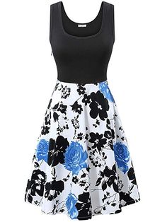 a53498b040 KIRA Women s Vintage Sleeveless Scoop Neck Floral Party Midi Dress with  Pocket Tank Dress