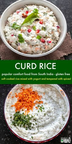 South India's ultimate comfort food where soft cooked rice is mixed with yogurt and then seasoned with spices. Tastes best when chilled and with a side of pickle and papadum! Pakistani Rice Recipes, Indian Food Recipes, Vegetarian Recipes, Healthy Recipes, Ethnic Recipes, Free Recipes, Indian Street Food, South Indian Food, Curd Rice Recipe