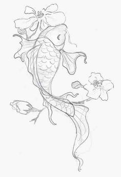 Japanese Dragon Koi Fish Tattoo Designs, Drawings and Outlines. The inspirational best red and blue koi tattoos for on your sleeve, arm or thigh. drawing 110 Best Japanese Koi Fish Tattoo Designs and Drawings - Piercings Models Japanese Koi Fish Tattoo, Koi Fish Drawing, Fish Drawings, Japanese Sleeve Tattoos, Tattoo Drawings, Art Tattoos, Pencil Drawings, Japanese Drawings, Drawing Flowers