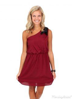The Final Countdown Crimson One Shoulder Dress