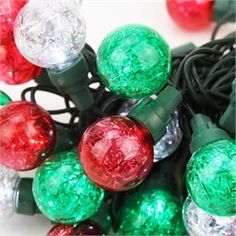 Product Features: Color: red, green and pure white bulbs / green wire Number of bulbs on string: 25 Bulb size: wide angle LED with G30 plastic…