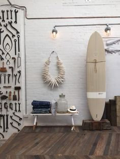 The ultimate summer essential - custom made surfboards by Byron Bay based McTavish Surf, I designed 6 for my 'Nomad' range using Australian textile designers for the underside inlay. Photo taken at my shop, The Society inc in Sydney