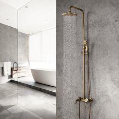 Classic Antique Brass Single Lever Exposed Rain Shower System with Hand Shower & Bath Filler - Shower Sets - Showers - Bath & Taps Shower Over Bath, Shower Taps, Bath Taps, Shower Set, Kitchen Taps, Chic Bathrooms, Bathroom Vanities, Sinks, Bathroom Ideas