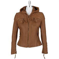 Michael Kors Zip Closure Leather Jacket with Hood #VonMaur