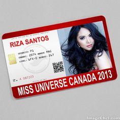 Riza Santos Miss Universe Canada 2013 card