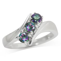 3-Stone Mystic Fire Topaz 925 Sterling Silver Ring