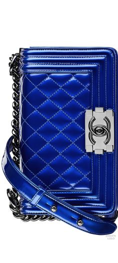 Royal blue and white Chanel purse