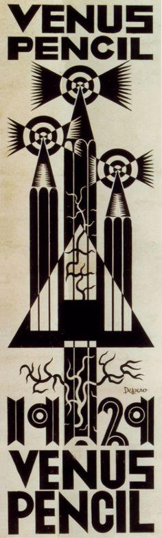 Fortunato Depero (1892-1960, Italy), 1929, Venus Pencil, India ink, Private Collection. ©Eredi Depero #Futurism