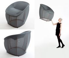 Benjamin Hubert is also responsible for 'Membrane,' a chair made of a stretched 3D woven textile mesh over a lightweight steel and aluminum framework, weighing in at just 3 kilograms.