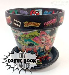 Comic Book Planter : a unique DIY gift for the Super Hero enthusiast | Pluckingdaisies.com