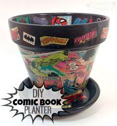 Comic Book Planter : a unique DIY gift for the Super Hero enthusiast | Pluckingdaisies.com