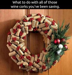 Wine Cork Wreath...these are the BEST DIY Christmas Wreath Ideas!