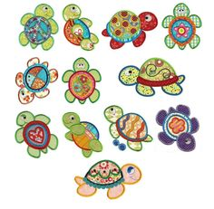 Turtles Applique Machine Embroidery Designs | Designs by JuJu