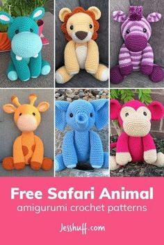 750b20a4e37a This set of 6 matching safari animal amigurumi crochet patterns includes a  hippo
