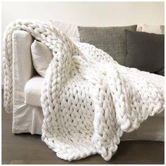#throw #blanket #knit #white Inspire Uplift Home & Kitchen 79x79 Inches / White Handmade Chunky Knit Blanket Knitted Baby Blankets, Soft Blankets, Knitted Blankets, Merino Wool Blanket, Cute Blankets, Plaid Grosse Maille, Chunky Blanket, White Throw Blanket, Big Knit Blanket
