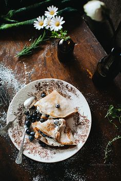 Cinnamon Pancakes with Cream and Blueberries