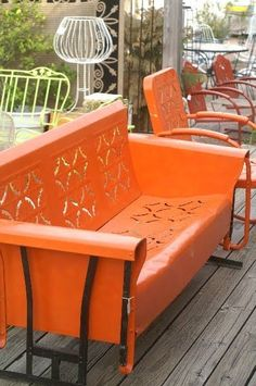 Image result for vintage lawn chair 1960s flowered pad