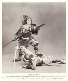 An Onna-Bugeisha (a female belonging to the samurai class) wielding a naginata. Kamakura era.