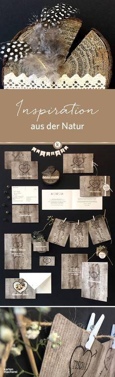 Vintage muss nicht immer filigran und blumig sein. Für rustikalere Hochzeitspapeterie hier entlang. Unsere Serie 'Wooden Love' hat auf strukturiertem Papier eine tolle Haptik. So schafft ihr einen besonderen Rahmen für eure Hochzeit.