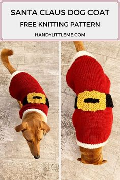 Santa Claus Dog Coat Knitting Pattern | Make a knitted Santa Claus dog coat with this easy free knitting pattern. The coat is available to make in 3 sizes-small, medium and large. This Christmas dog sweater is perfect for holiday parties and special occasions! #dogsweaters #christmas #knitting #knittingpatterns #christmasknitting Dog Coat Pattern, Coat Patterns, Christmas Knitting Patterns, Sweater Knitting Patterns, Knitting For Kids, Free Knitting, Christmas Dog, Christmas Sweaters, Large Dog Sweaters