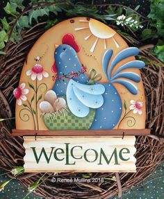Henny Penny Welcome/Flag Topper (PATTERN) **NEW PATTERN** (Scroll down the page to view all items related to this item, such as wood kits, stencils, etc. Chicken Painting, Chicken Art, Painting On Wood, Arte Country, Country Crafts, Diy And Crafts, Paper Crafts, July Crafts, Primitive Painting